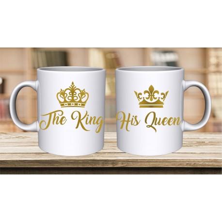 ZESTAW 2 KUBKÓW DLA PAR ZAKOCHANYCH WALENTYNKI WZÓR THE KING HIS QUEEN