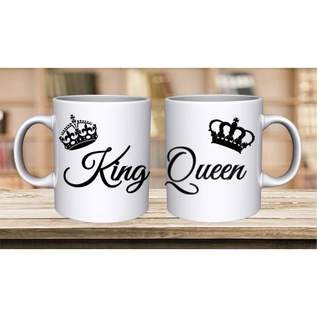 ZESTAW 2 KUBKÓW DLA PAR ZAKOCHANYCH WALENTYNKI WZÓR KING QUEEN