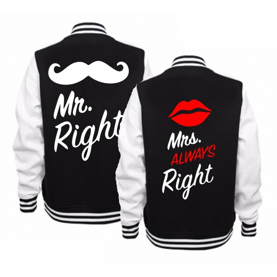 BLUZY BASEBALL DLA PAR ZAKOCHANYCH WZÓR MR RIGHT MRS ALWAYS RIGHT