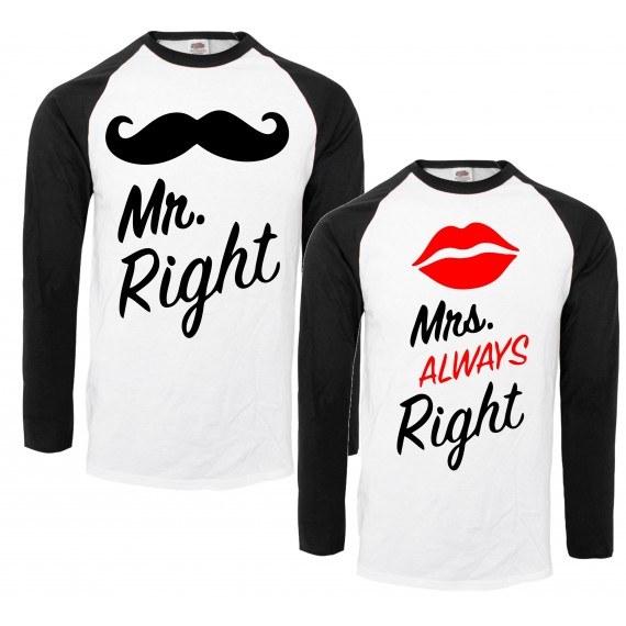 BLUZY KOSZULKI BASEBALL DLA PAR ZAKOCHANYCH WZÓR MR RIGHT MRS ALWAYS RIGHT