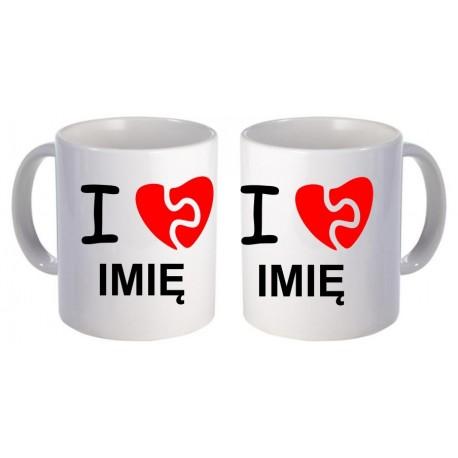 Kubki dla par zakochanych I LOVE 2szt z imionami GRATIS