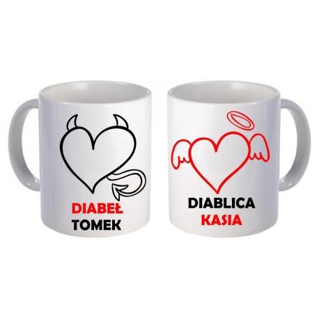 Kubki dla pary zakochanych DIABEŁ DIABLICA 2szt z imionami GRATIS