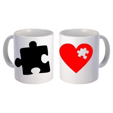 Kubki dla pary zakochanych SERCE PUZEL 2szt z imionami GRATIS