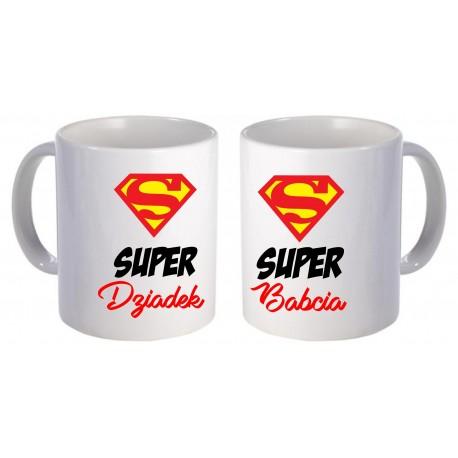 -SUPER DZIADEK I SUPER BABCIA- ZESTAW DWÓCH KUBKÓW PREZENT NA DZIEŃ BABCI I DZIADKA
